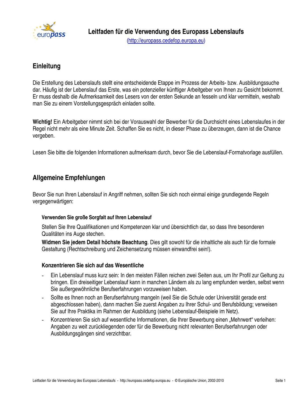 Nett Allgemeine Lebenslauf Qualifikationen Bilder ...