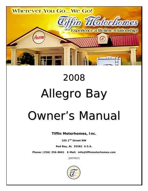 Allegro Bay Owner's Manual - Tiffin Motorhomes