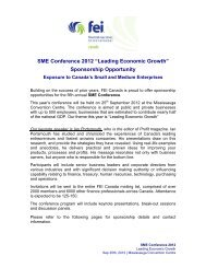 """SME Conference 2012 """"Leading Economic Growth ... - FEI Canada"""