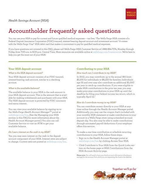 Wells Fargo HSA - FAQ's - Teradyne