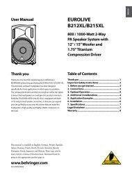 EUROLIVE B212XL/B215XL User Manual - zZounds.com