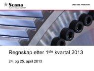 Regnskap etter 1ste kvartal 2013 - Scana Industrier ASA