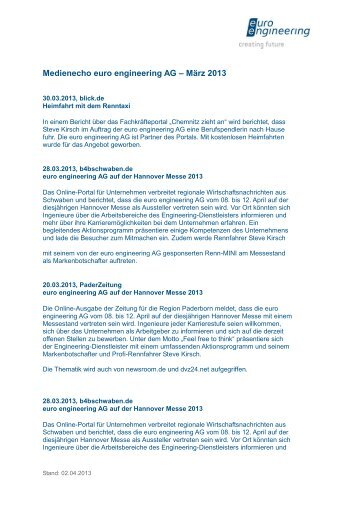 Medienecho euro engineering AG – März 2013