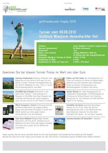Turnier vom 08.08.2010 Golfclub Wiesloch ... - Golffriends.com