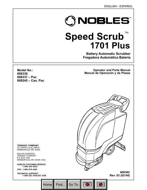 Nobles 2601 speed scrub autoscrubber > tennant [caliber equipment].