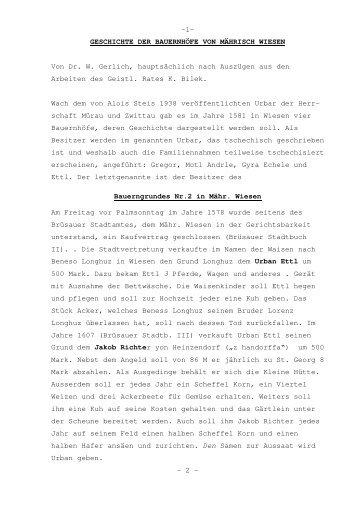 Geschichte der Bauernhöfe von Mährisch Wiesen - Zwittau