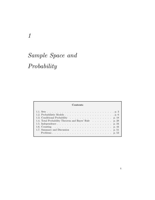 1 Sample Space And Probability Athena Scientific
