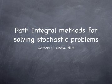 Path Integral methods for solving stochastic problems