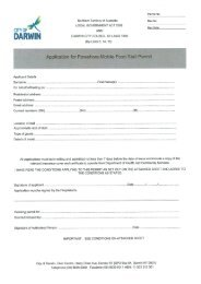 Application for Foreshore Mobile Food Stall Permit - Darwin City ...