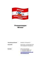 Pressemappe Winter Saalbach Hinterglemm