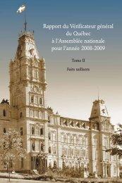 Rapport du Vérificateur général du Québec à l'Assemblée nationale ...