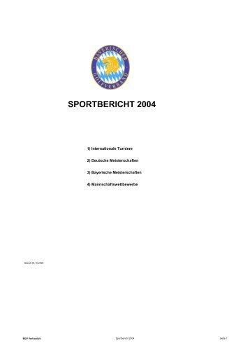 SPORTBERICHT 2004 - Bayerischer Golfverband