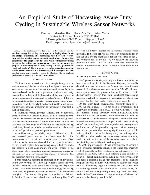 An Empirical Study of Harvesting-Aware Duty Cycling in ... - A*Star