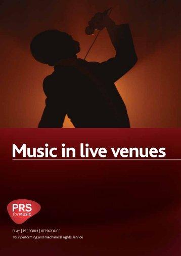 Music in live venues - PRS