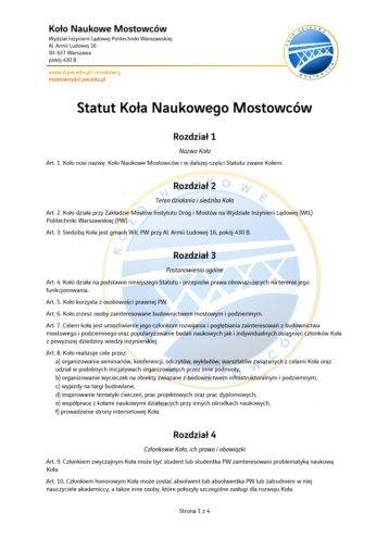 Statut KNM - Wydział Inżynierii Lądowej