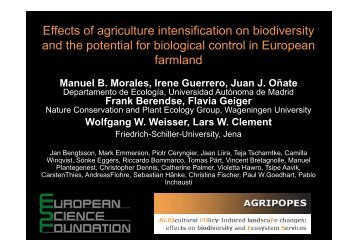 Effects of agriculture intensification on biodiversity and the ... - icaam