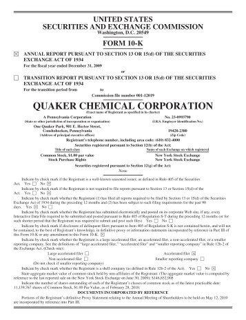 Form 10-K - Quaker Chemical Corporation