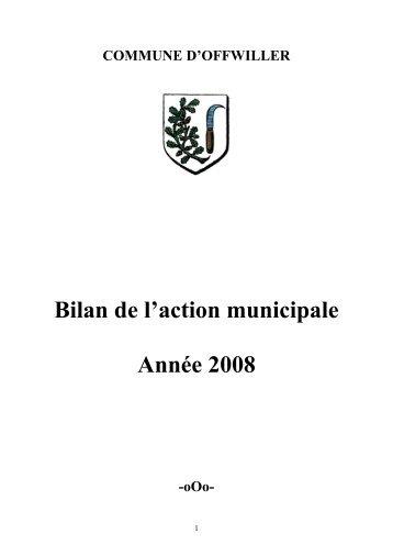 bilan de l'action municipale 2008 - Offwiller