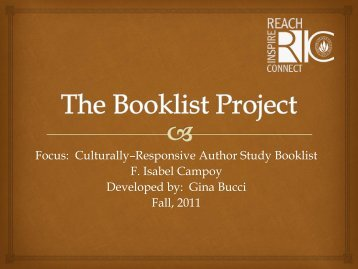 Campoy, F. Isabel Author Study Booklist by Gina Bucci for ... - RITELL
