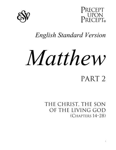Matthew Part 2 PUP (ESV) - Precept Ministries International