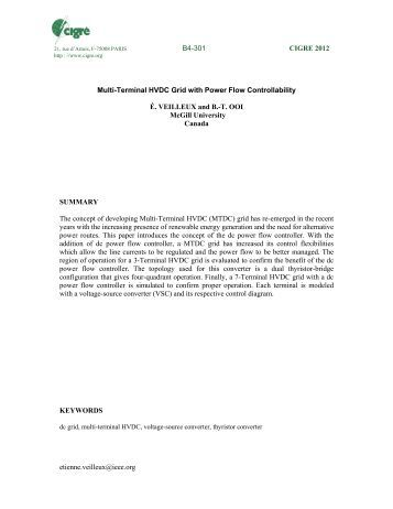 etienne.veilleux@ieee.org Multi-Terminal HVDC Grid with ... - Cigre
