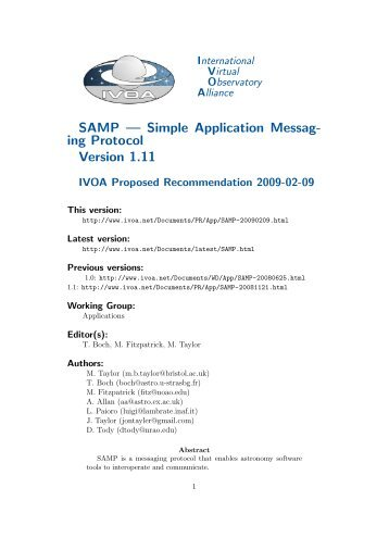 SAMP — Simple Application Messag- ing Protocol Version 1.11 - IVOA