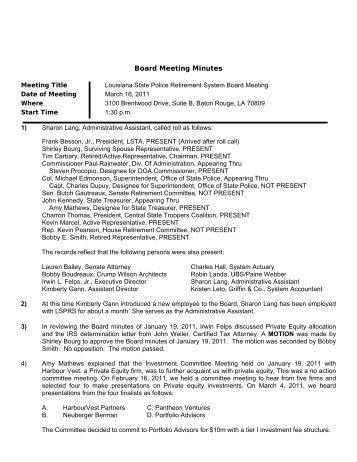 Board Meeting Minutes - Louisiana