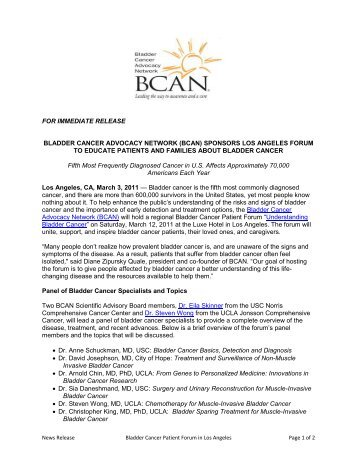 Los Angeles Patient Forum - Bladder Cancer Advocacy Network