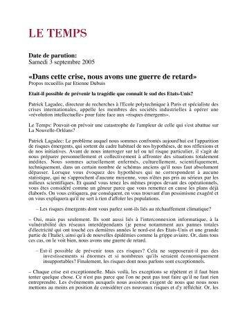 «Dans cette crise, nous avons une guerre de retard» - Patrick Lagadec