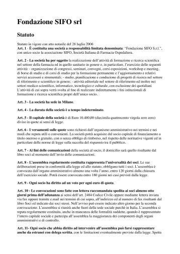 Lo statuto della Fondazione SIFO