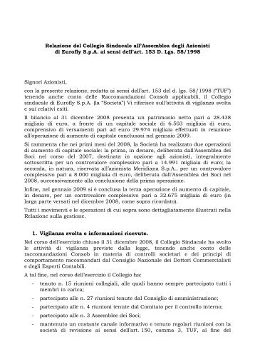 Relazione collegio sindacale al bilancio 2008 - Meridiana