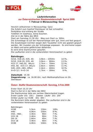 Läuferinformation zur Österreichischen Staatsmeisterschaft Sprint ...