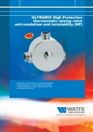ULTRAMIX High Protection thermostatic mixing ... - Watts Industries
