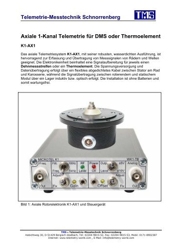 Axiale 1-Kanal Telemetrie für DMS oder Thermoelement - TMS ...