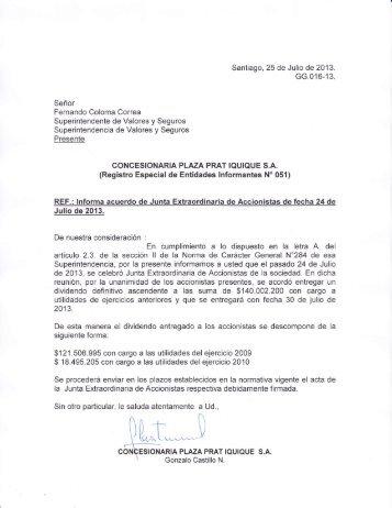 Julio de 2013. dividendo definitivo ascendente a las suma de ... - SVS