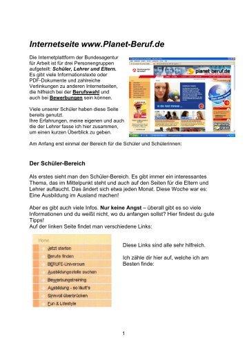 Internetseite www.Planet-Beruf.de