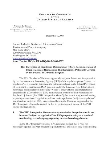 View Comments - US Chamber of Commerce
