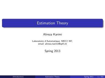 Estimation Theory - EPFL