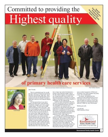 2010 Spring Newsletter - Ravenswood Family Health Center