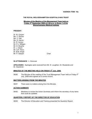 draft Minutes of the meeting held on 5th September 2008