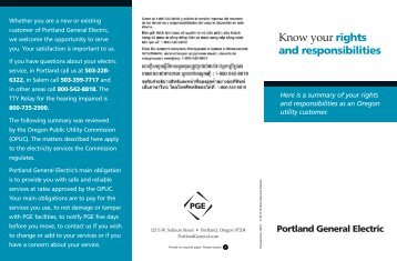 Know Your Rights And Responsibilities - Portland General Electric