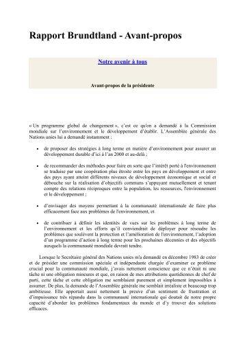 Rapport Brundtland - Réseau Culture 21