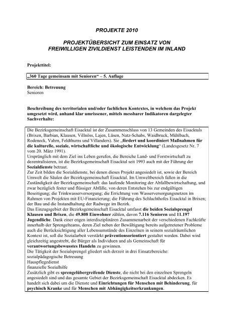 Projekt Zivildienst 2010 (43 KB) - Bezirksgemeinschaft Eisacktal