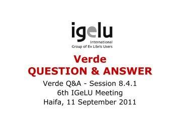 Verde QUESTION & ANSWER - IGeLU