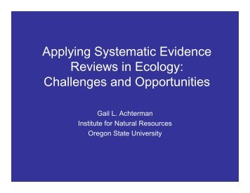 Applying Systematic Evidence Reviews in Ecology - Environmental ...