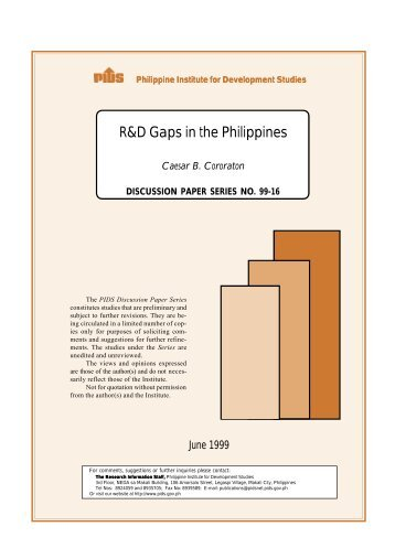 R&D Gaps in the Philippines - Philippine Institute for Development ...