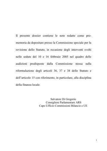Appunto per la Commissione Statuto - Assemblea Regionale Siciliana