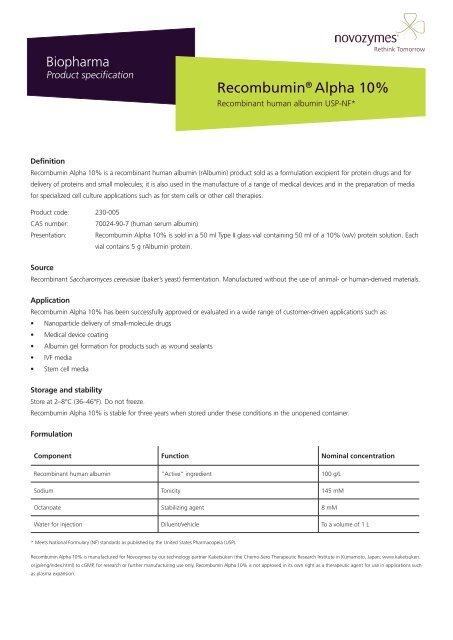 Recombumin® Alpha 10% - Novozymes Biopharma