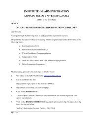 read the Diploma Registration Guidelines - Ahmadu Bello University