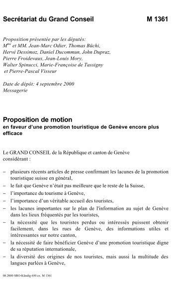 Secrétariat du Grand Conseil M 1361 Proposition ... - Etat de Genève